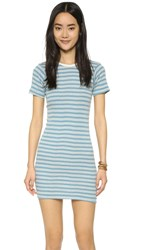 Edith A. Miller Crew Neck Mini Dress Blue Natural Racer Stripe