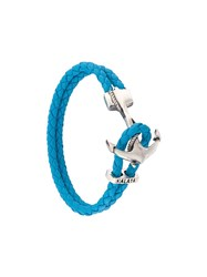 Nialaya Jewelry Braided Anchor Bracelet Blue