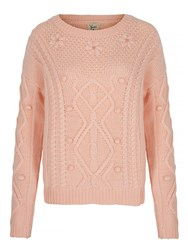 Yumi Cable Knit Jumper Pink
