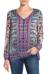 Lucky Brand Women's Moroccan Border Print V Neck Blouse