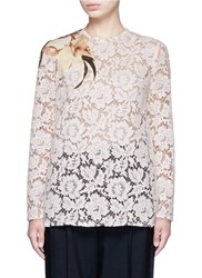 Valentino Floral Print Patch Lace Top White