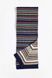 Urban Outfitters Fair Isle Two Sided Scarf Blue Multi