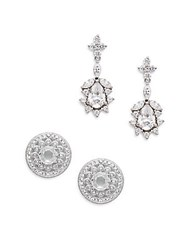 Adriana Orsini White Stone Stud And Drop Earring Set Silvertone