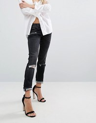 Replay Super Skinny Mid Rise Biker Jeans With Zips And Rips Washed Black