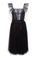 Sachin Babi And Lily Cap Sleeve Tulle Dress Black