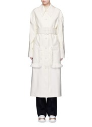 Stella Mccartney Fringed Belted Long Wool Coat White