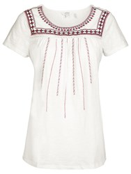 Fat Face Callie Embroidered T Shirt White