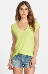 James Perse High Gauge Jersey Deep V Tee Neon