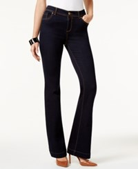 Inc International Concepts Curvy Fit Dark Blue Wash Flared Jeans Only At Macy's Bronzed Camel Stitch