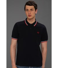 Slim Fit Twin Tipped Fred Perry Polo Navy White Red Men's Short Sleeve Knit Multi