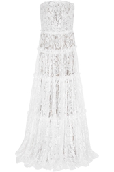 Lanvin Strapless Tiered Lace Gown