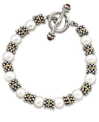 Macy's 14K Gold And Sterling Silver Cultured Freshwater Pearl Beaded Bracelet White