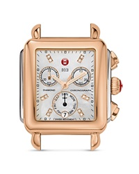 Michele Deco Two Tone Diamond Dial Watch Head 33 X 35Mm Two Tone Rose Gold