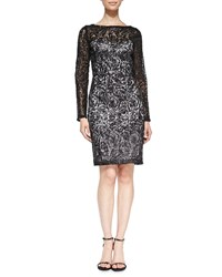 Sue Wong Long Sleeve Lace Overlay Cocktail Dress Black Platinum