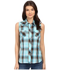 Roper Sleeveless 0324 Turquoise Chocolate Plaid Blue Women's Sleeveless