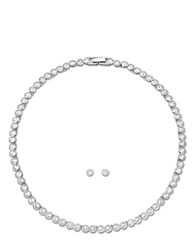 Swarovski Tennis Crystal Necklace And Earring Set Silver