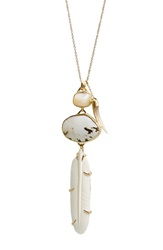 Heather Benjamin Carved Feather Pendant Necklace Cream Gold