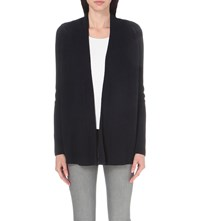 The White Company Ribbed Cotton And Wool Blend Cardigan Navy
