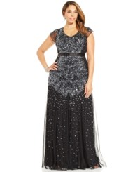 Adrianna Papell Plus Size Cap Sleeve Embellished Gown