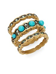 Heidi Daus Tria Little Color Swarovski Crystal And Multicolored Stacked Rings Gold Turquoise
