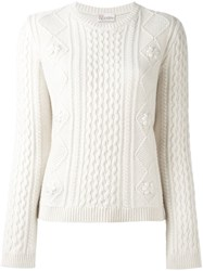 Red Valentino Cable Knit Sweater Nude And Neutrals