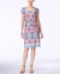 Ny Collection Printed A Line Dress Coral Mistify