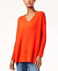 Eileen Fisher Boxy V Neck Sweater Poppy