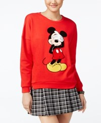 Freeze 24 7 Disney Juniors' Mickey Mouse Patch Graphic Sweatshirt Red