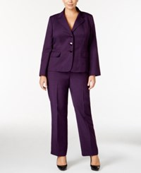 Le Suit Plus Size Three Button Glazed Melange Pantsuit Dark Purple
