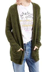 Topshop Boucle Cardigan Olive