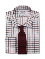 T.M.Lewin Check Brushed Cotton Slim Fit Shirt Purple