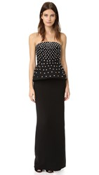 Monique Lhuillier Strapless Peplum Column Gown Noir