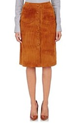 Barneys New York Mock Button Front Suede Skirt Brown Size 42 It