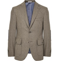 Michael Bastian Sand Slim Fit Elbow Patch Houndstooth Wool And Cashmere Blend Blazer Neutrals