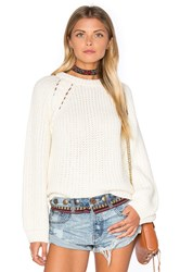 J.O.A. Long Sleeve Crew Neck Sweater Ivory