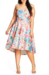 City Chic Plus Size Women's Glass Floral Fit And Flare Dress