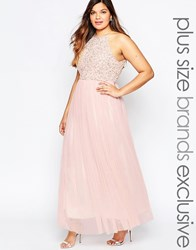 Lovedrobe Halter Sequin Maxi Dress Blush