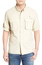 Men's Exofficio 'Outdoor Air Strip' Regular Fit Ventilated Spf Sport Shirt Bone
