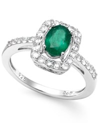 Macy's Emerald And White Sapphire Oval Ring In Sterling Silver 1 1 2 Ct. T.W.