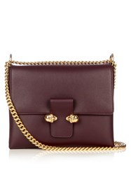 Alexander Mcqueen Twin Skull Leather Cross Body Bag Burgundy