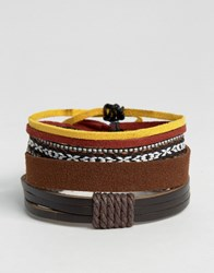 Asos Faux Leather And Woven Bracelet Pack In Brown Brown