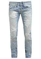 Replay Slim Fit Jeans Ripped And Repaired Light Blue