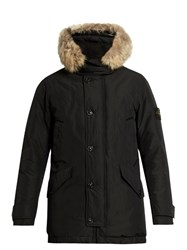 Stone Island David Tc Fur Trimmed Down Padded Parka Black