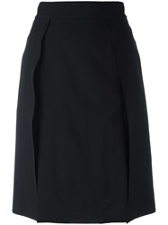 Ports 1961 Slash Detail Knee Length Skirt Black