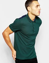 Dkny Polo Shirt Ribbed Collar And Cuffs Green