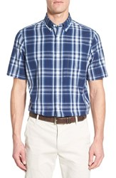 Nordstrom Men's Shop Men's Nordstrom Regular Fit Sport Shirt Navy Peacoat Blue Madras Plaid