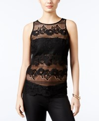 Guess Yaro Isle Lace Contrast Top Jet Black
