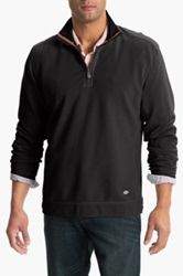 Tommy Bahama Denim New Ben And Terry Island Modern Fit Half Zip Pullover Black