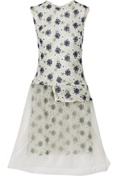 Michael Van Der Ham Lucy Floral Lace And Organza Dress Green