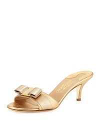 Glory Metallic Bow Slide Sandal Mekong Salvatore Ferragamo